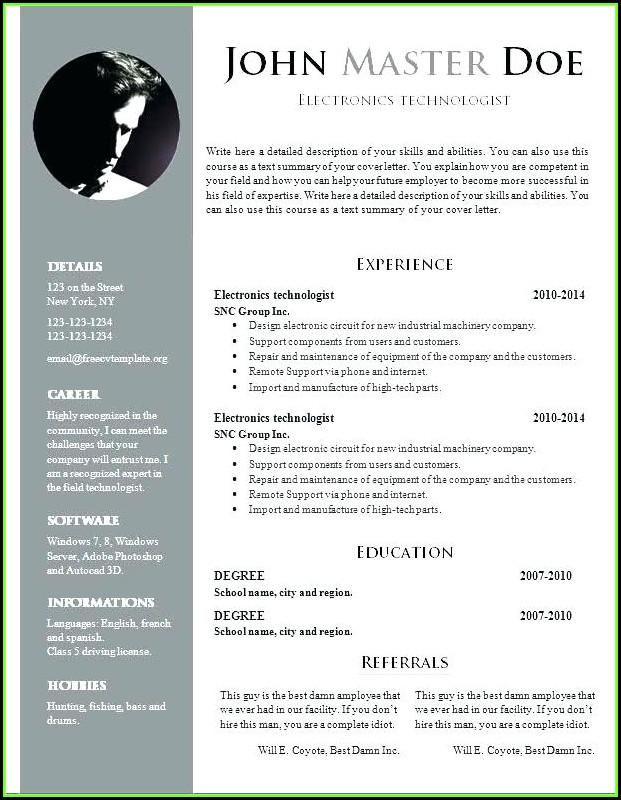 Google Docs Free Resume Template