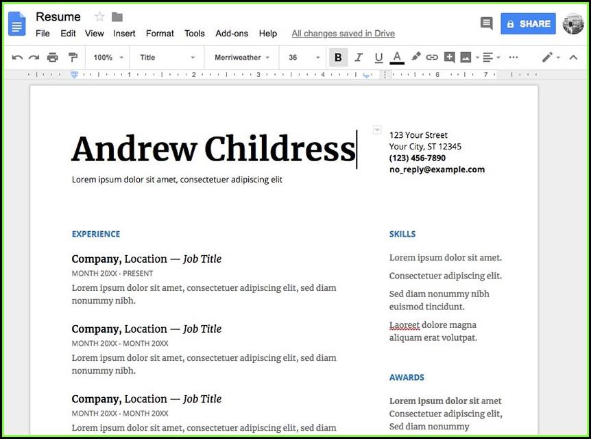 Google Resume Templates 2018 Free