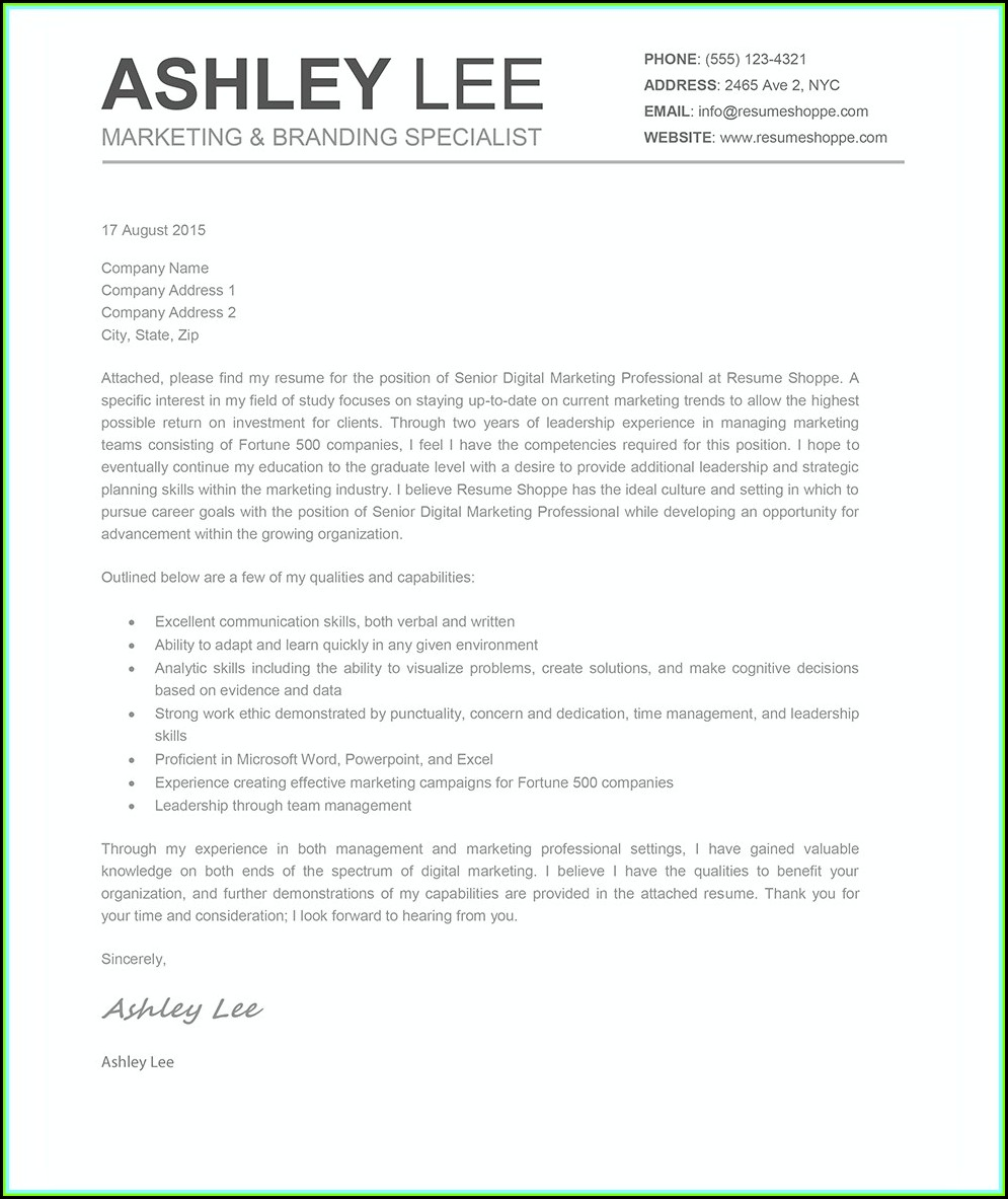 How To Create A Cover Letter For A Resume In Word