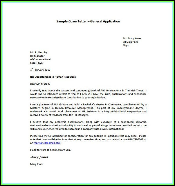 How To Make A General Cover Letter For A Resume