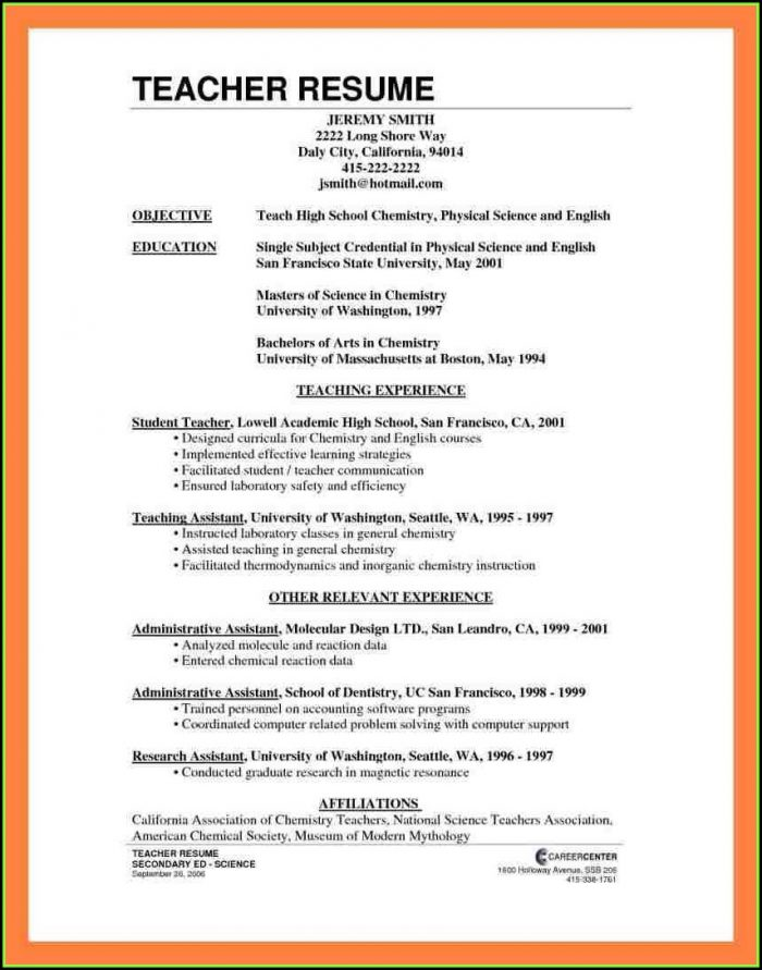 How To Make Resume For Job Of Teacher