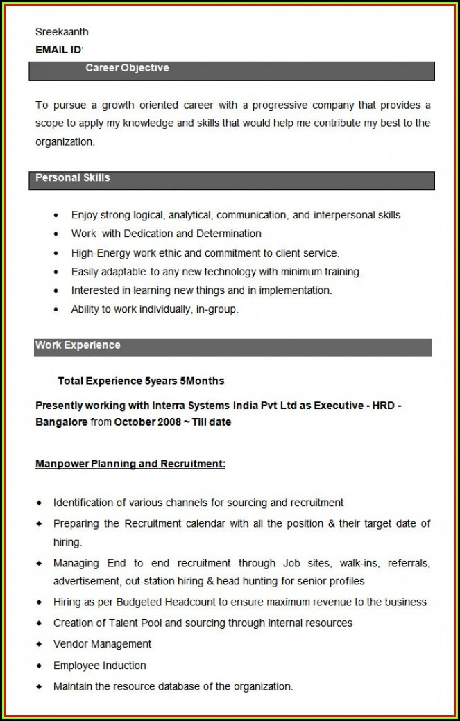 Hr Executive Resume Formats