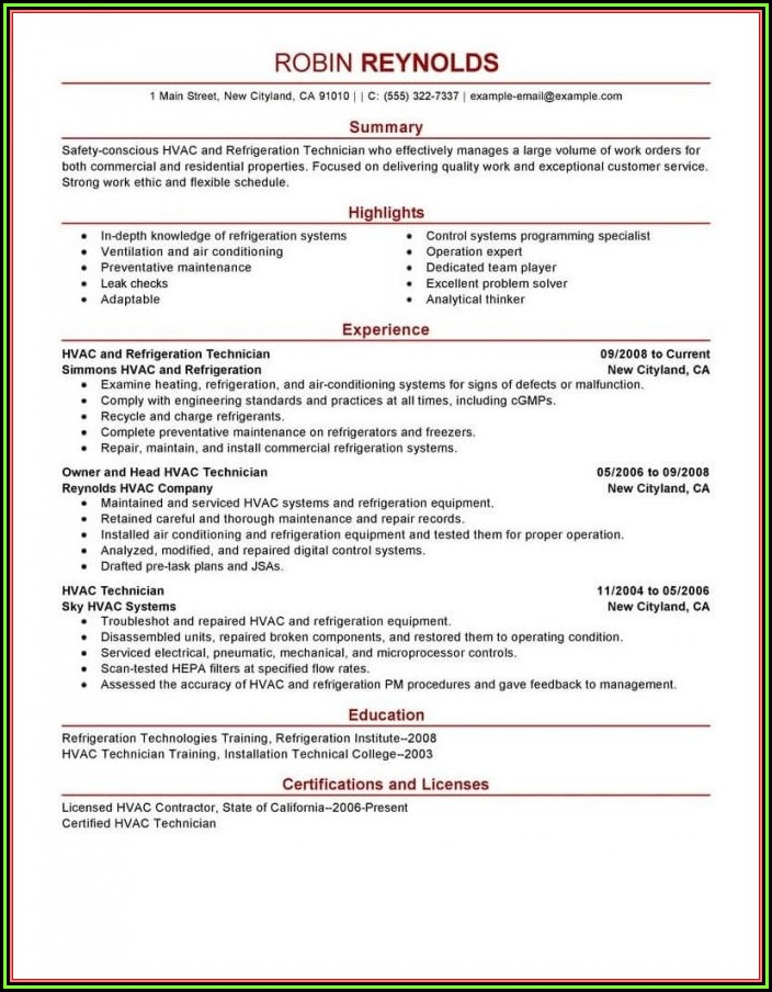Hvac Apprentice Resume Templates