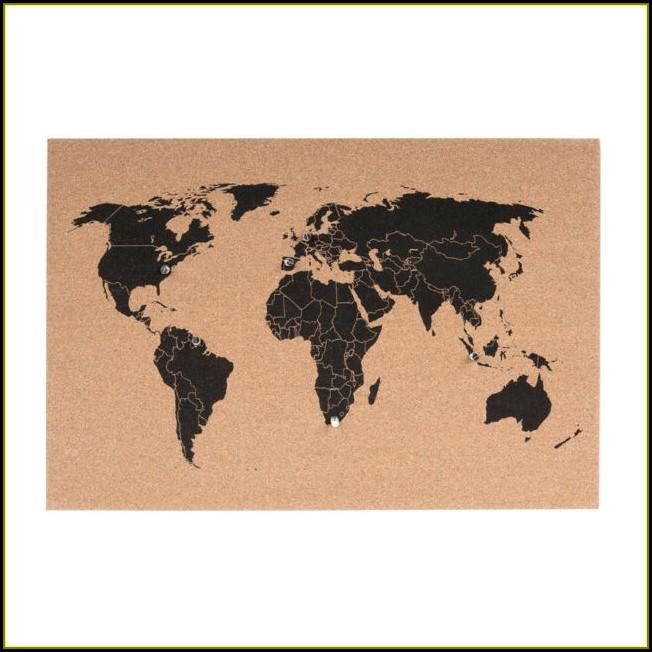 Large World Map Corkboard