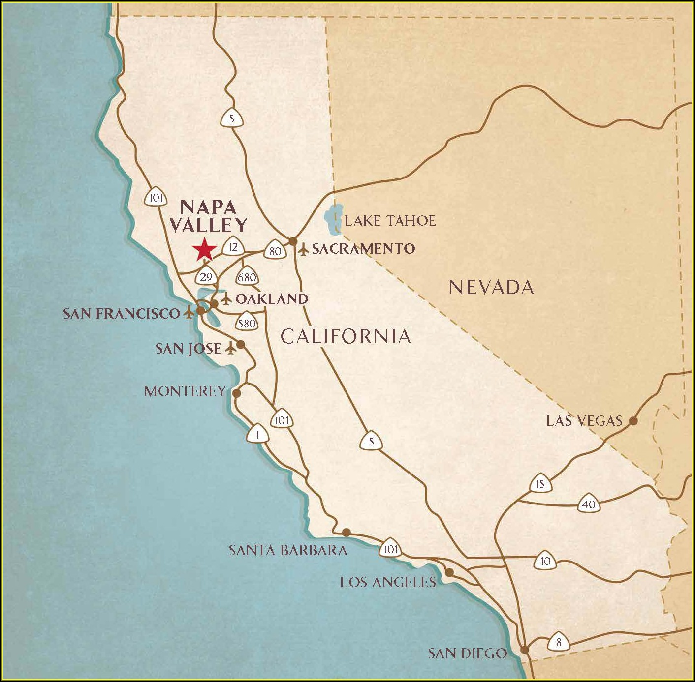 Map Napa Valley California