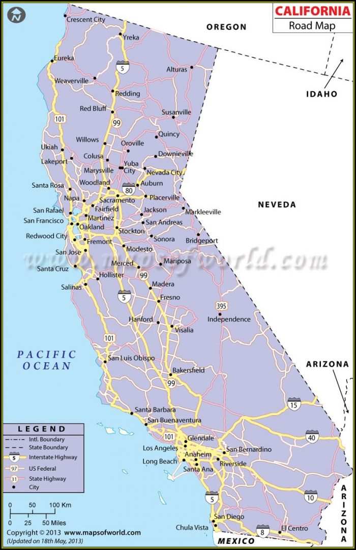 Map Of California Freeways And Highways