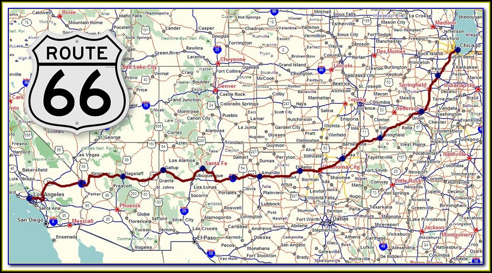 Map Of Historic Route 66 In California