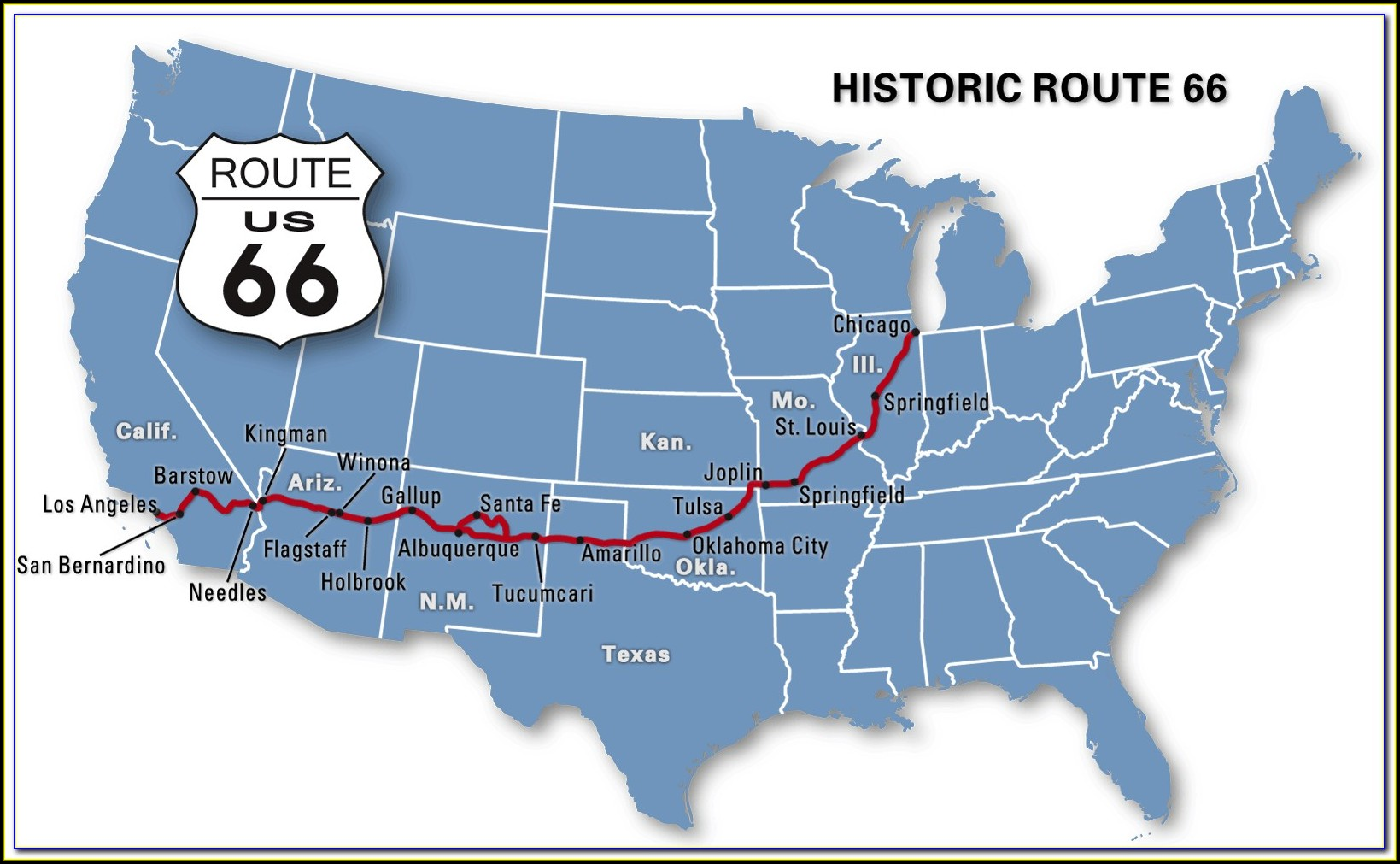 Map Of Historic Route 66 In Texas