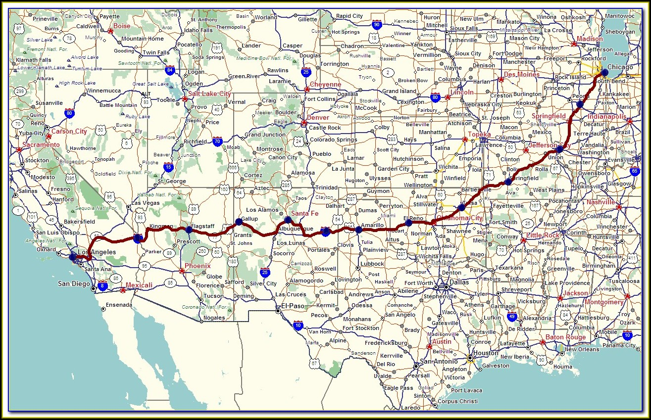 Map Of Historic Route 66