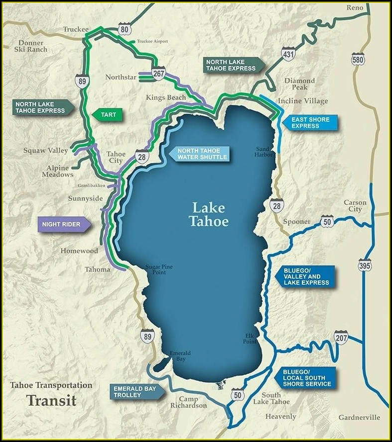 Map Of Hotels Around Lake Tahoe