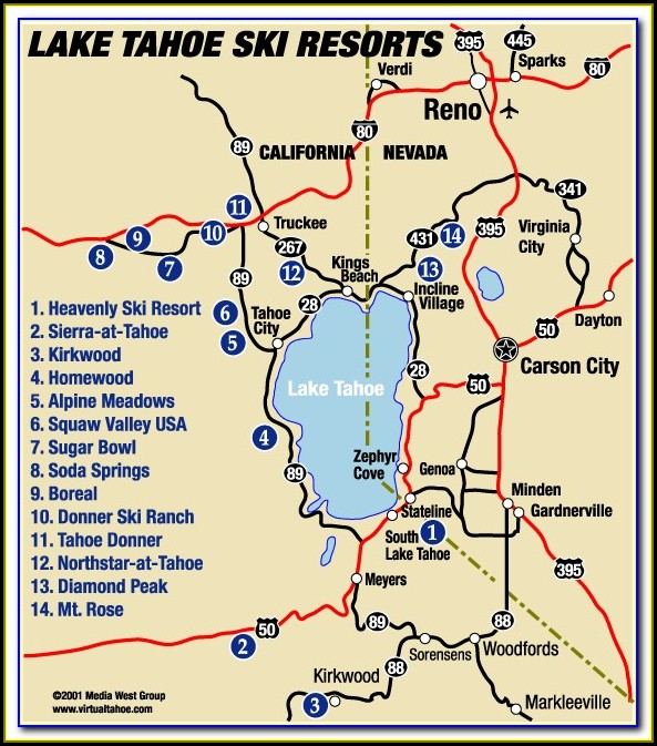 Map Of Hotels In Lake Tahoe
