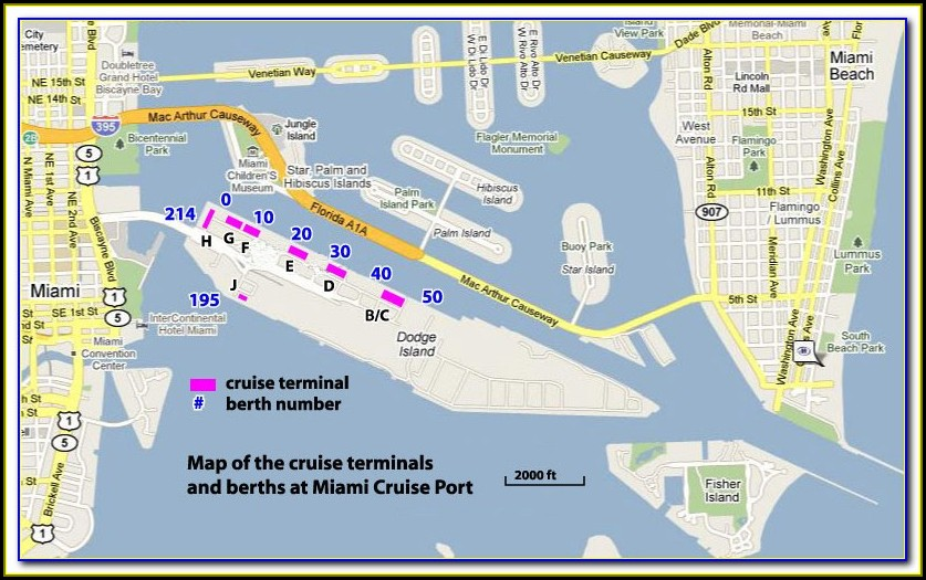 Map Of Miami Port For Cruises