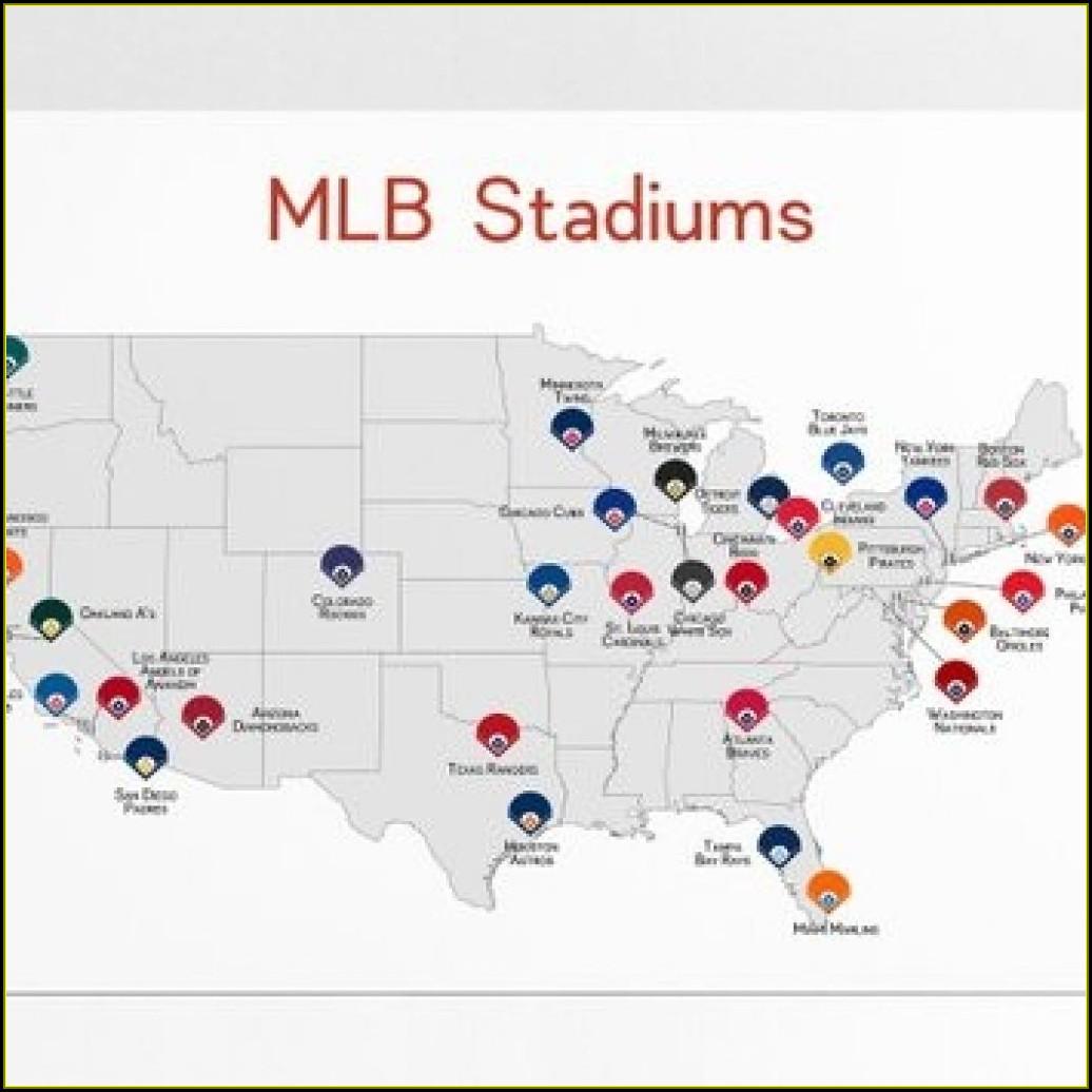 Map Of Mlb Baseball Stadiums