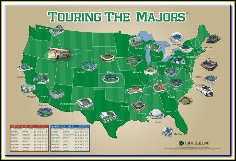 Map Of Mlb Stadiums Visited