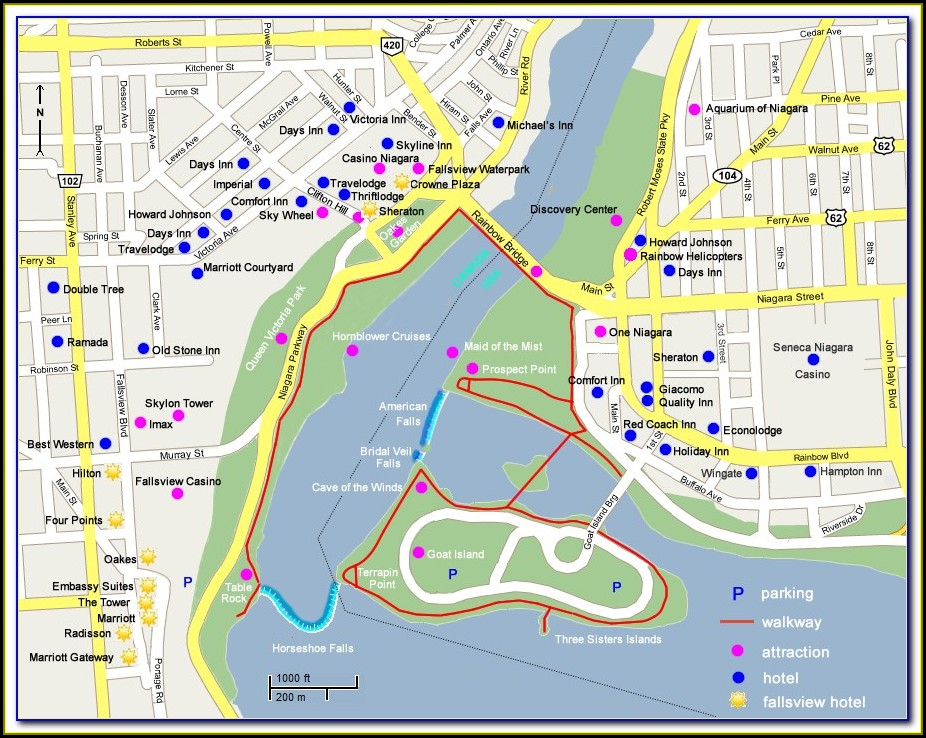 Map Of Niagara Falls Canada Hotels And Attractions