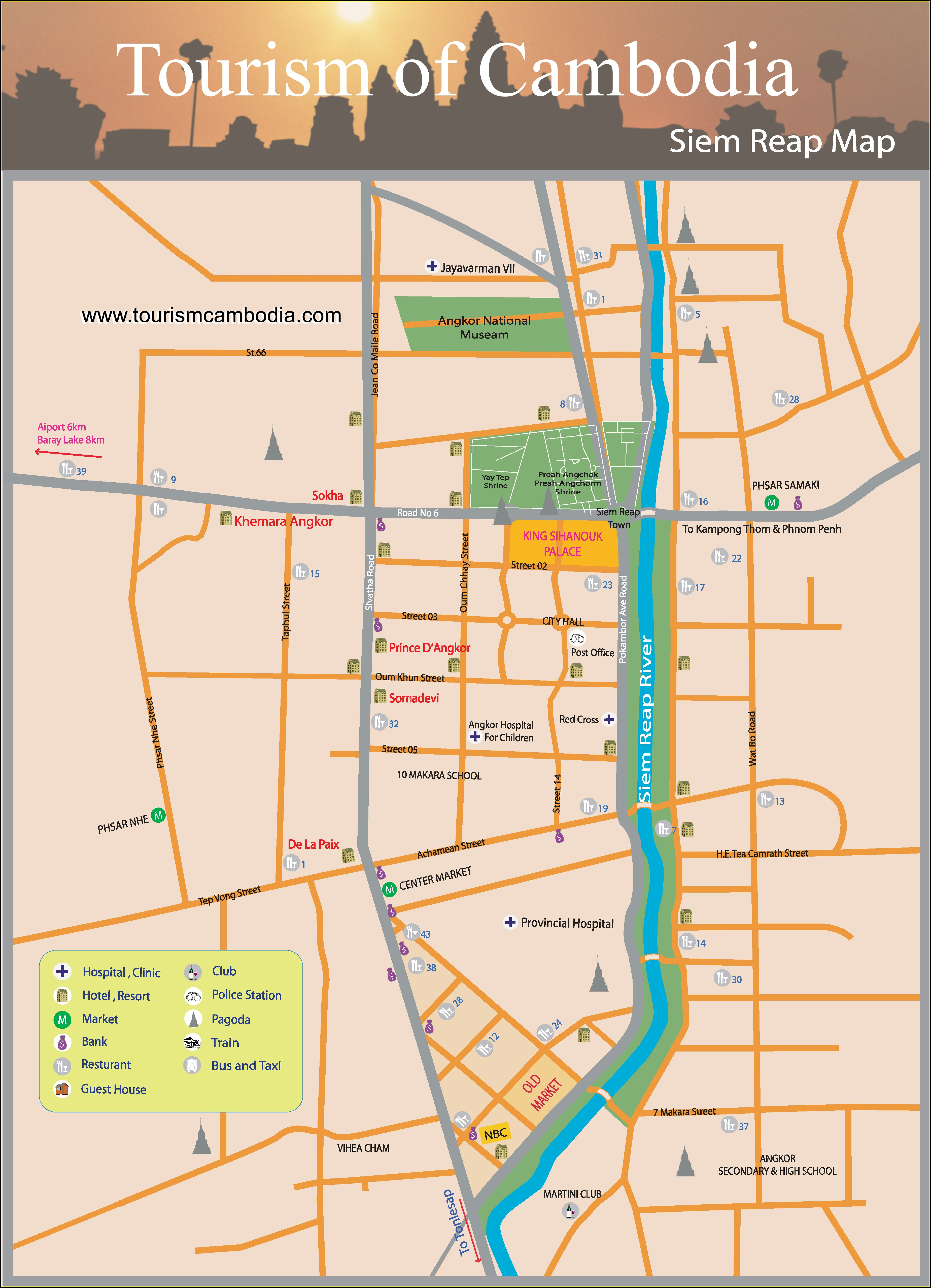 Map Of Siem Reap Hotels
