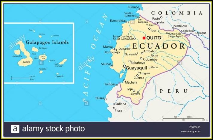 Map Peru Ecuador Galapagos