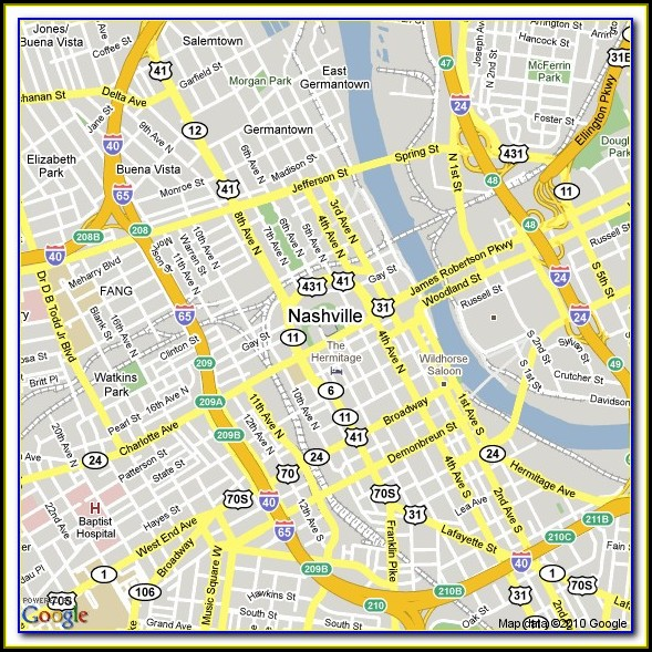 Maps Of Hotels In Nashville Tn
