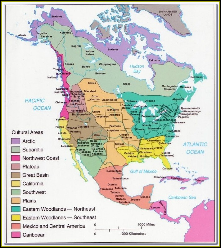 Maps Of Native American Tribes In North America