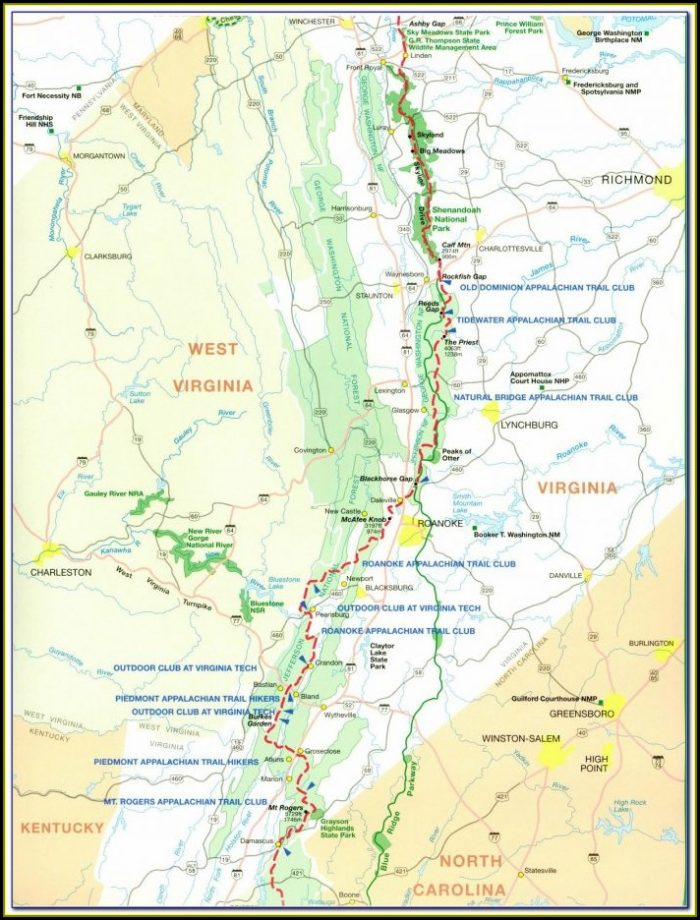 Maps Of The Appalachian Trail In Virginia
