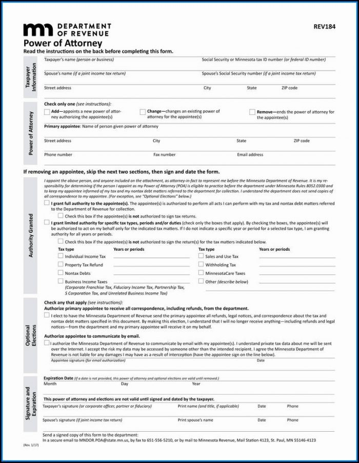 Financial Poa Form Indiana