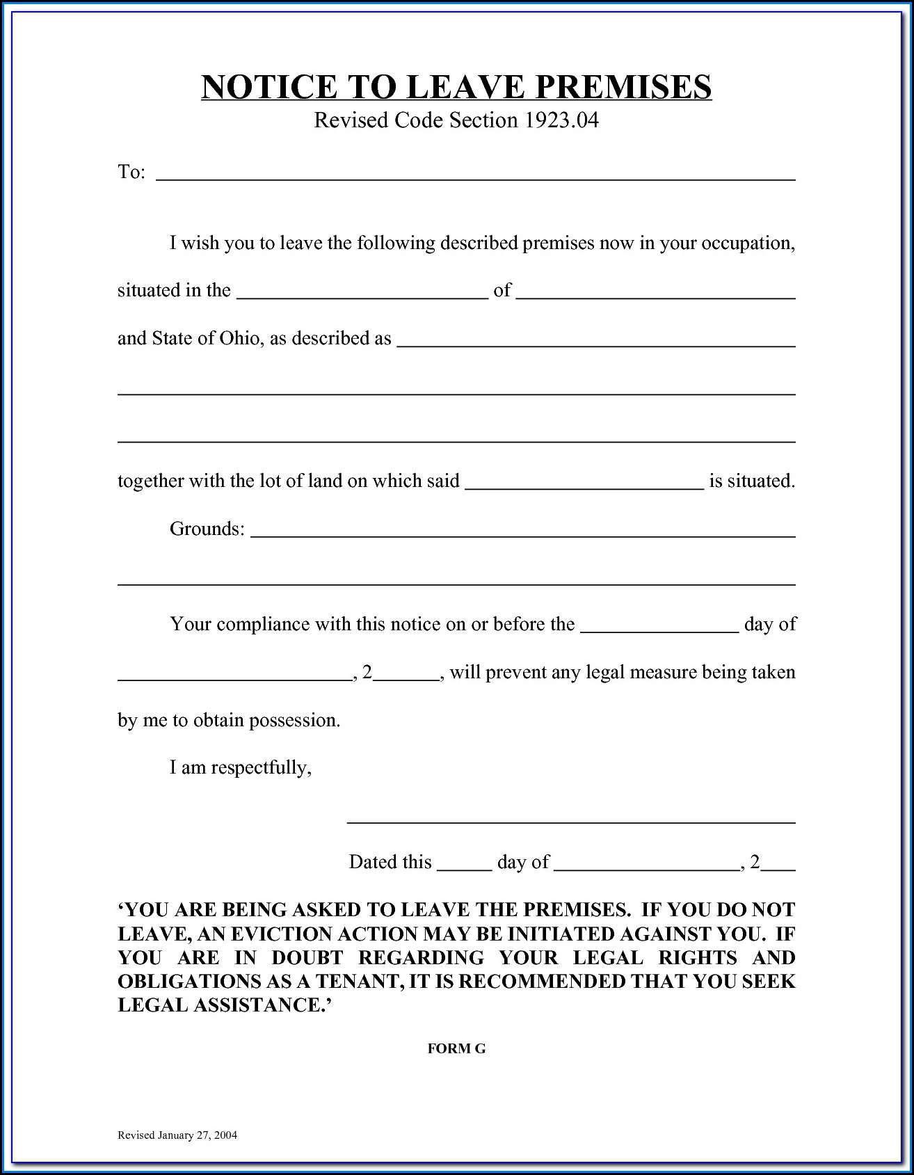Florida 5 Day Eviction Notice Form