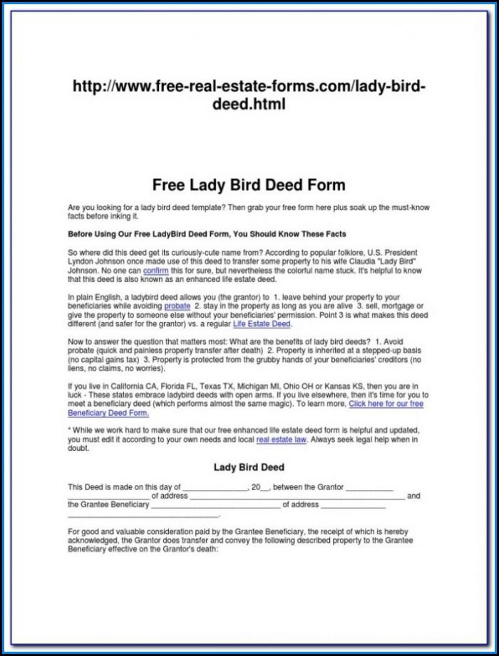 Florida Enhanced Life Estate Deed Form Free