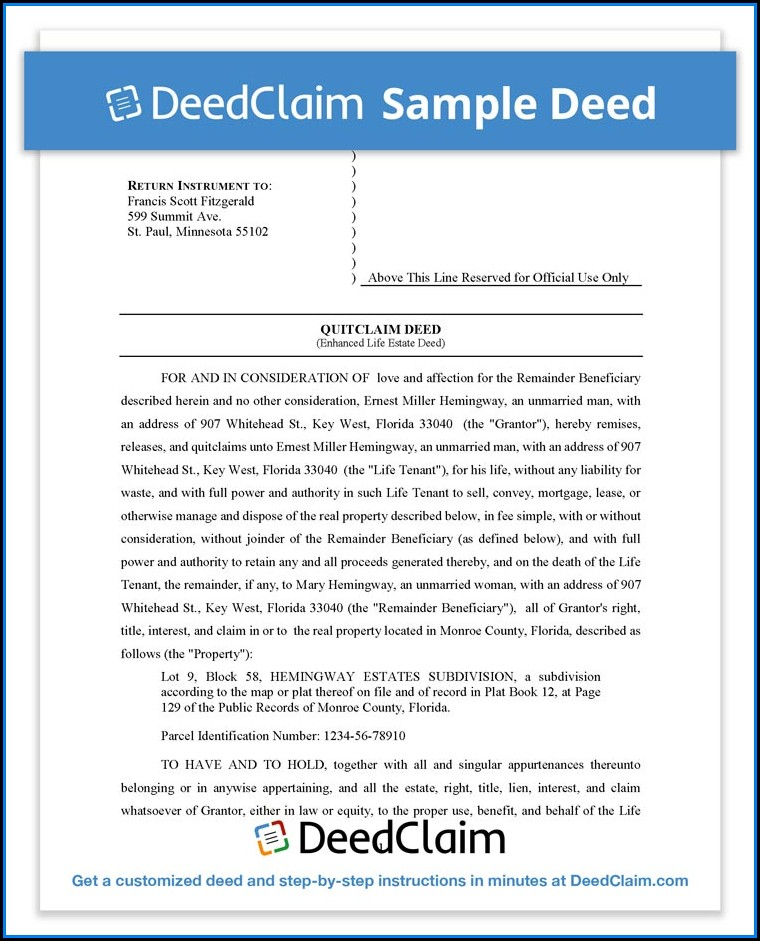 Florida Enhanced Life Estate Deed Form