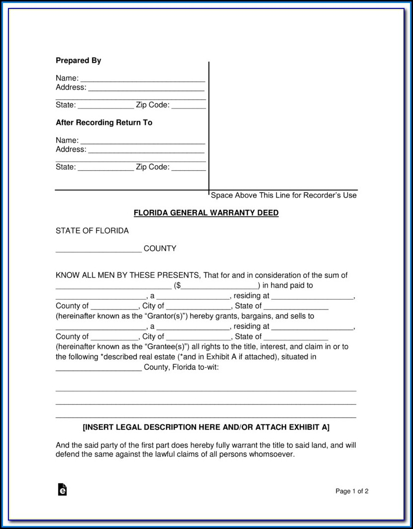 Florida Statutory Warranty Deed Form