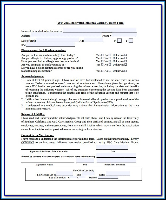 Flu Vaccine Consent Form Template