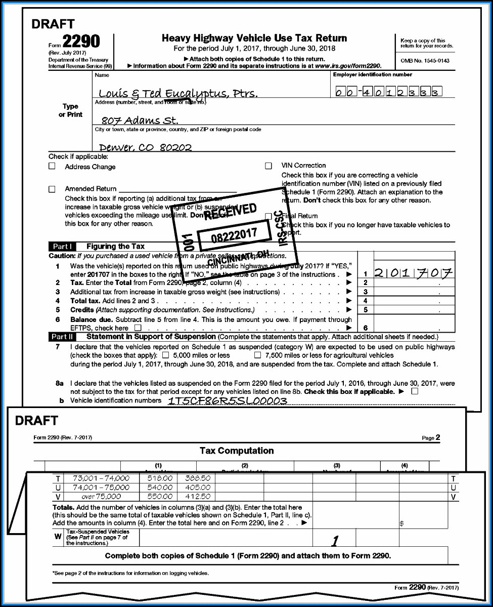 Form 2290 Irs Instructions
