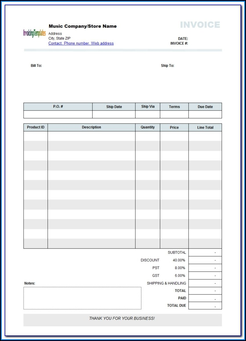 Free Blank Invoice Form Word