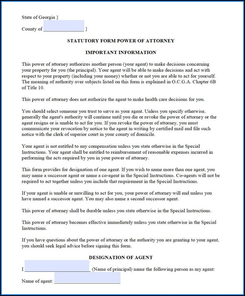Free Durable Power Of Attorney Form Georgia