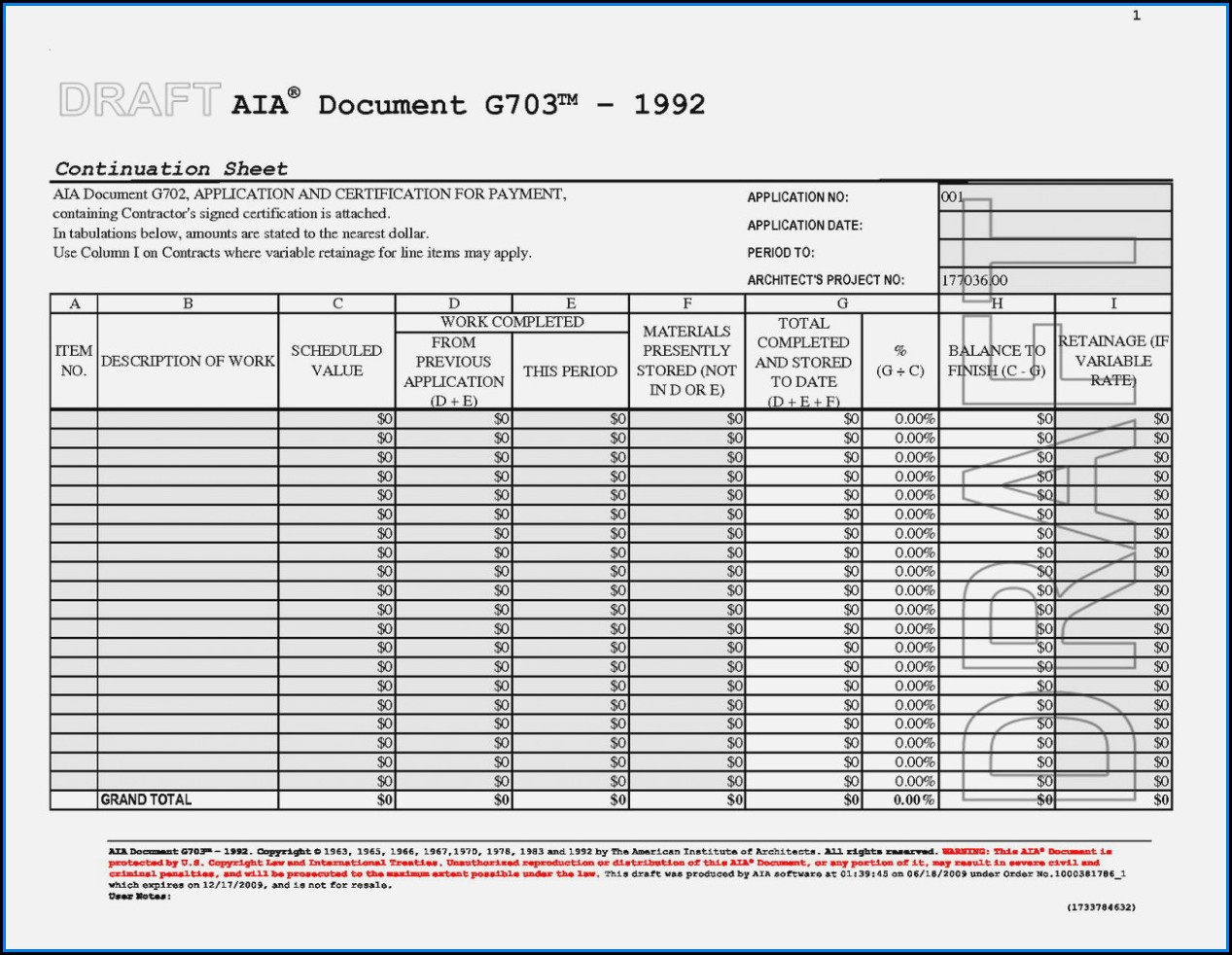 Free Excel Aia Forms G702 And G703
