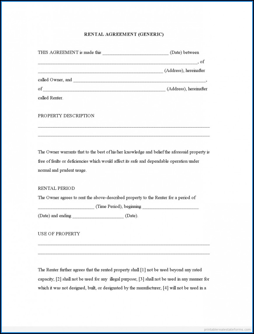 Free Fillable Printable Lease Agreement Form