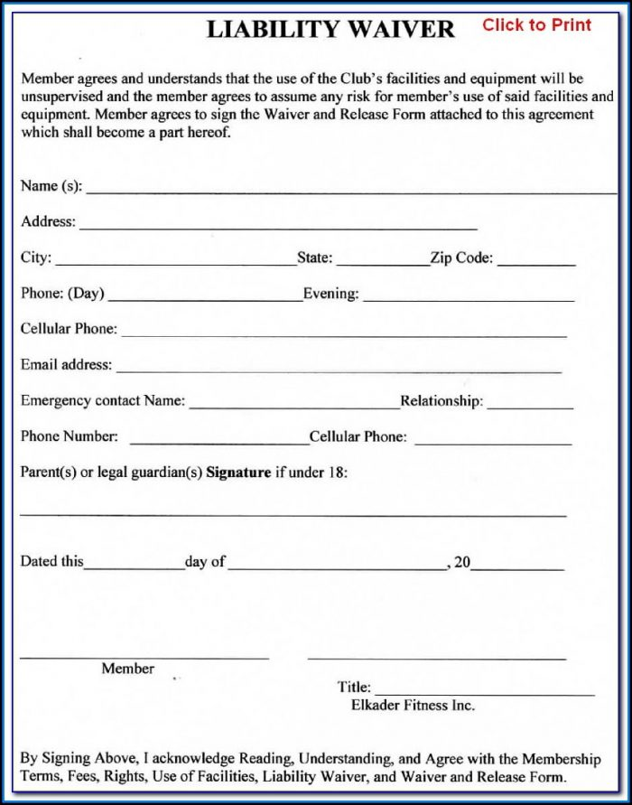 Free Liability Release Form Printable