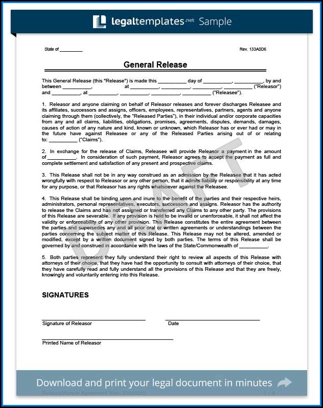 Free Liability Release Form