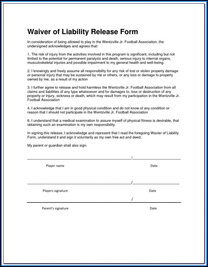 Free Liability Waiver Form California