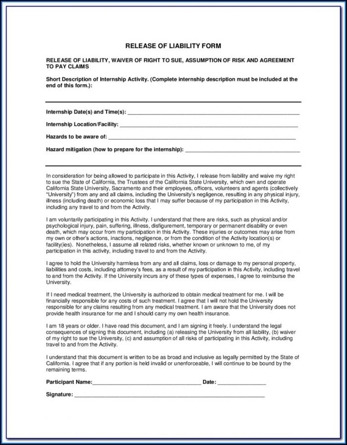Free Liability Waiver Form Canada