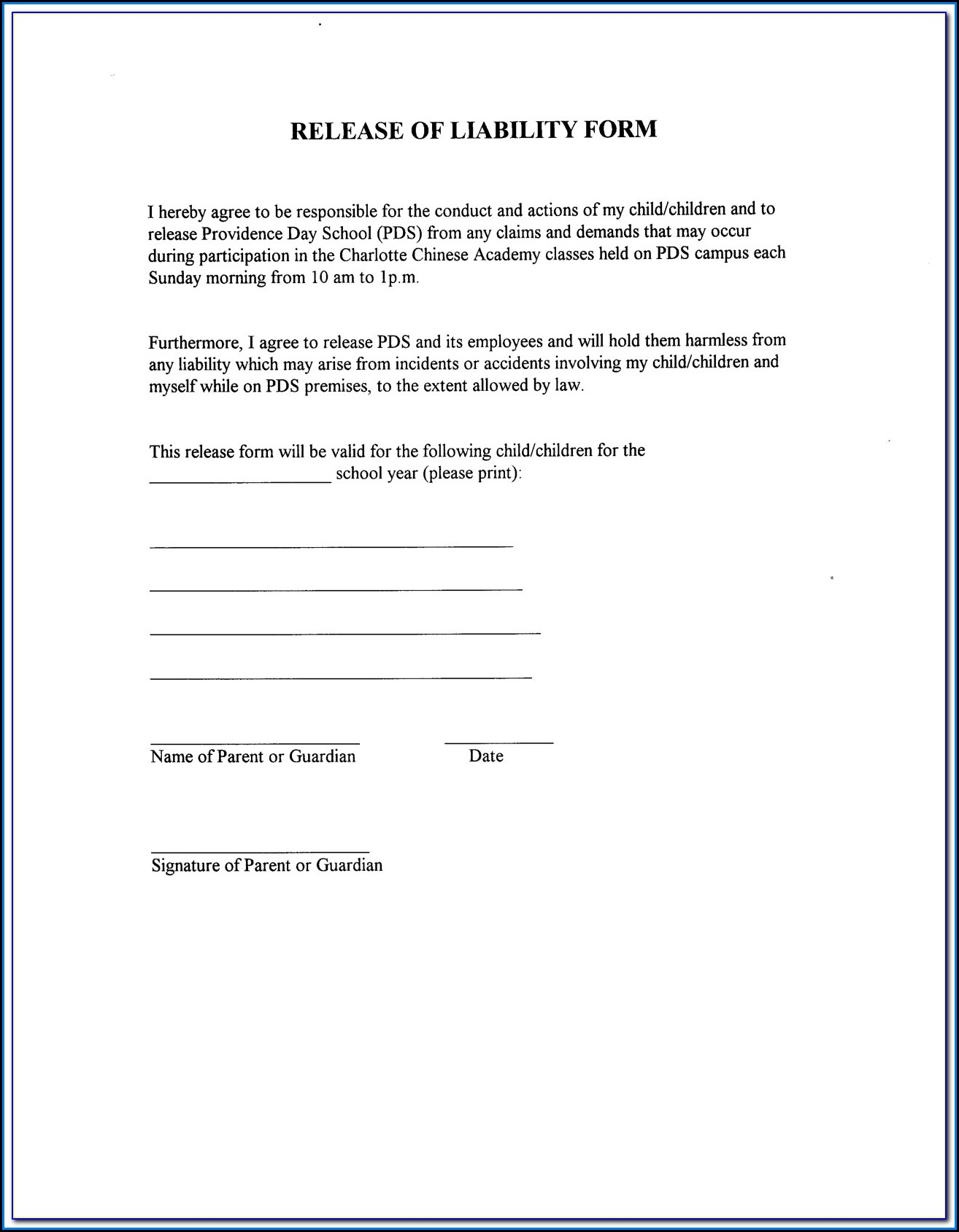 Free Liability Waiver Form Uk