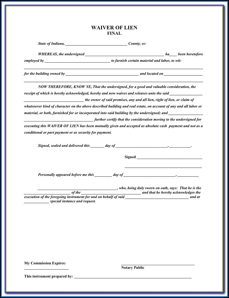 Free Lien Waiver Form Georgia