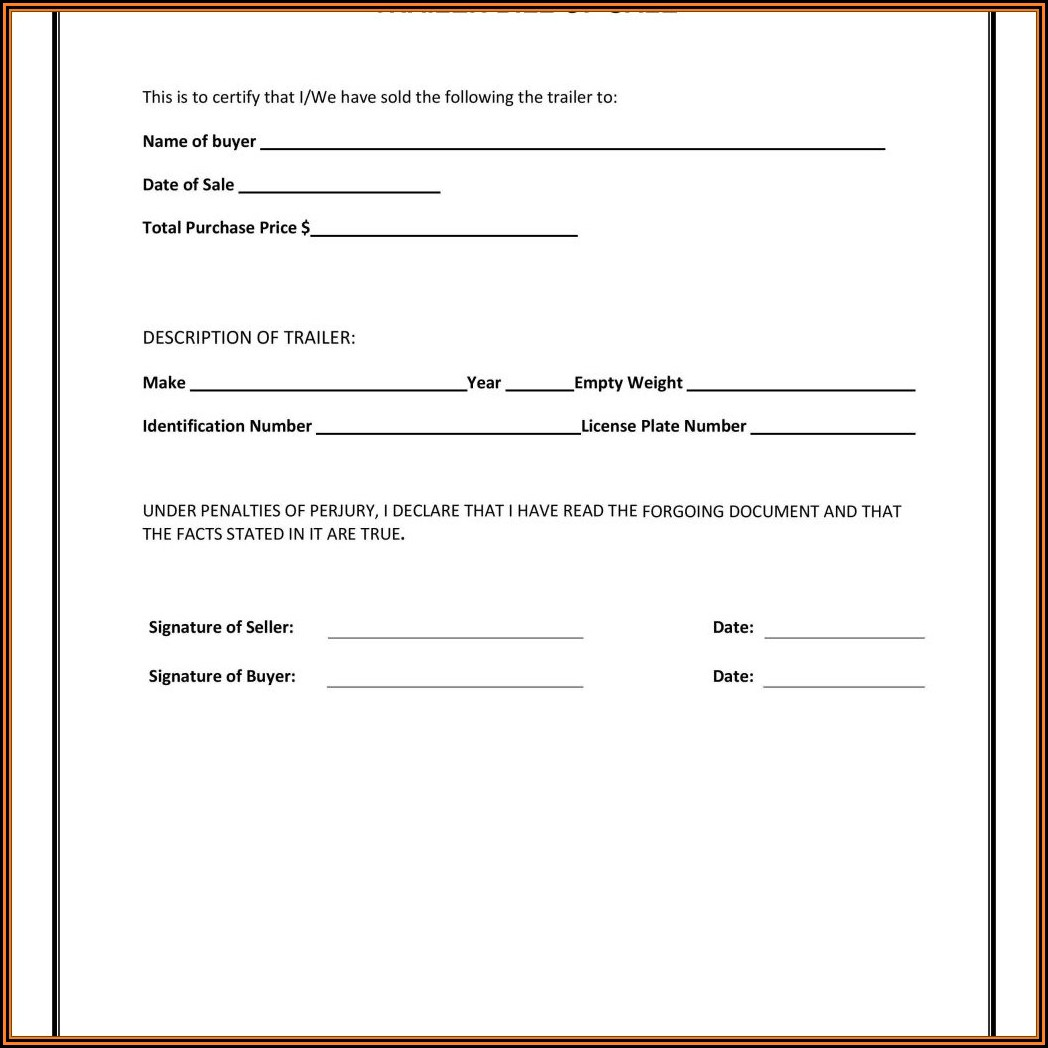 Free Motor Vehicle Bill Of Sale Form Template