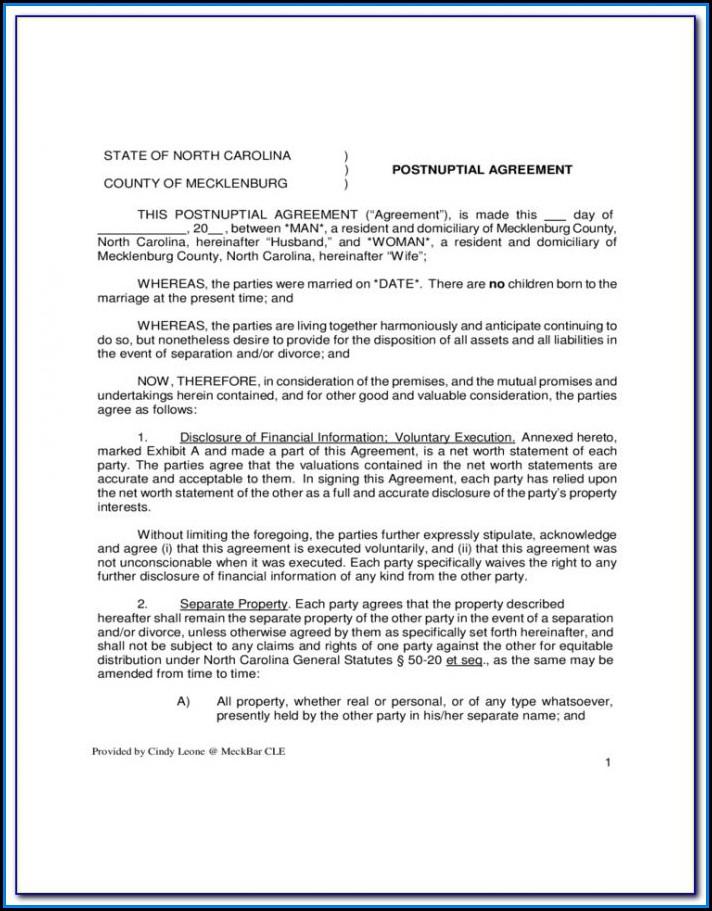 Free Postnuptial Agreement Form Pdf