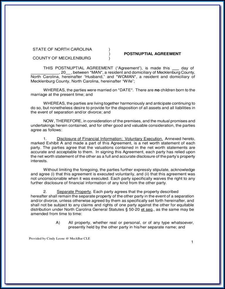 Free Postnuptial Agreement Form Uk
