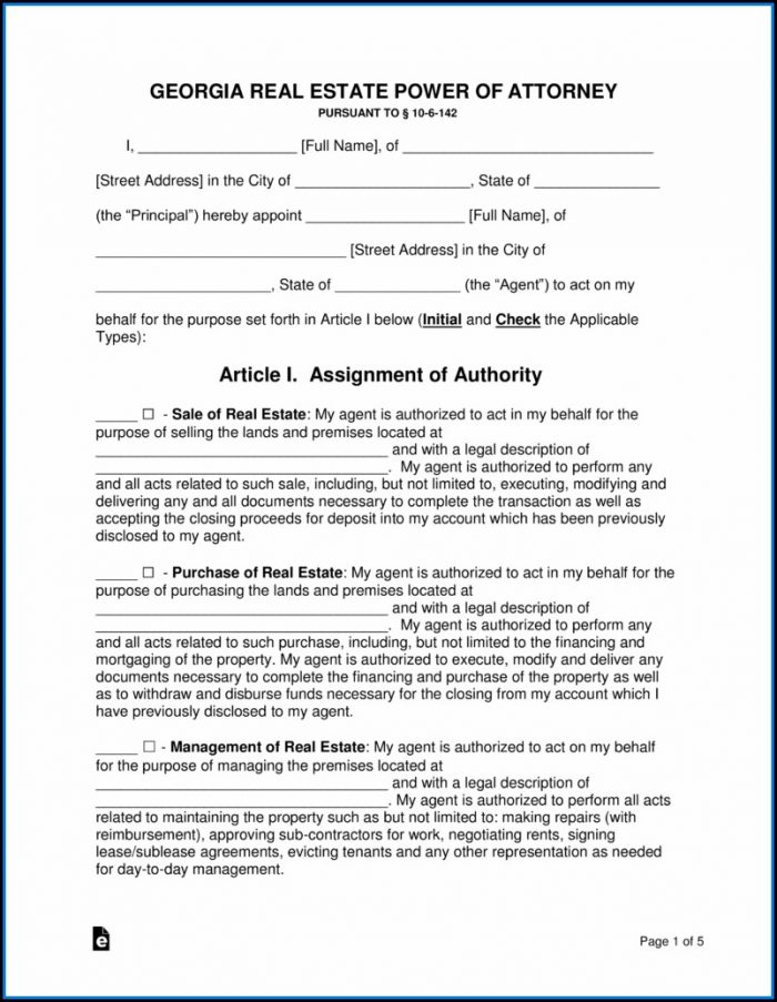 Free Power Of Attorney Form Georgia Real Estate