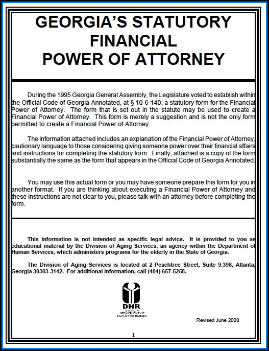 Free Power Of Attorney Form Georgia