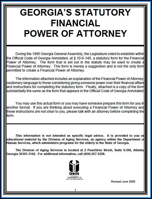 Free Power Of Attorney Form Georgia