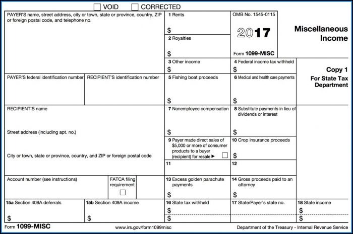Free Printable 1099 Tax Form 2017