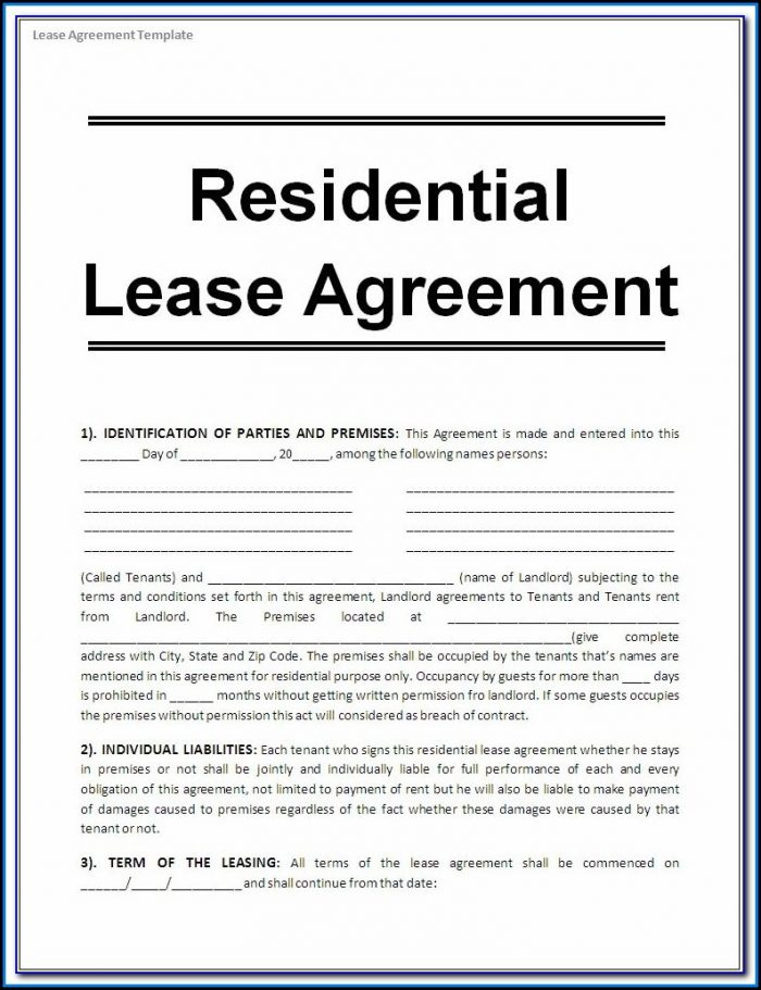 Free Printable Blank Lease Agreement Forms