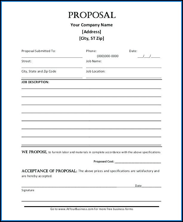 Free Printable Construction Proposal Forms